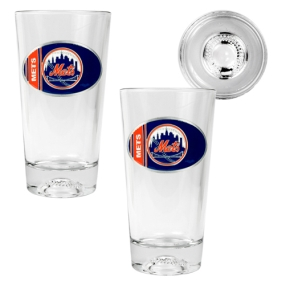 New York Mets 2pc Pint Ale Glass Set with Baseball Bottom