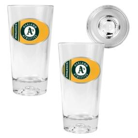 Oakland A's 2pc Pint Ale Glass Set with Baseball Bottom
