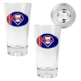 Philadelphia Phillies 2pc Pint Ale Glass Set with Baseball Bottom