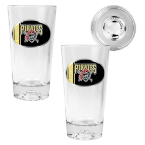 Pittsburgh Pirates 2pc Pint Ale Glass Set with Baseball Bottom