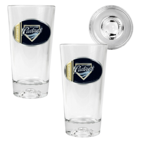 San Diego Padres 2pc Pint Ale Glass Set with Baseball Bottom