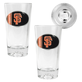 San Francisco Giants 2pc Pint Ale Glass Set with Baseball Bottom