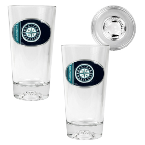 Seattle Mariners 2pc Pint Ale Glass Set with Baseball Bottom
