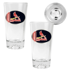 Saint Louis Cardinals 2pc Pint Ale Glass Set with Baseball Bottom
