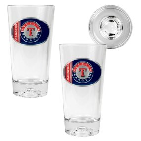 Texas Rangers 2pc Pint Ale Glass Set with Baseball Bottom