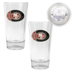 San Francisco 49ers 2pc Pint Ale Glass Set with Football Bottom