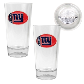 New York Giants 2pc Pint Ale Glass Set with Football Bottom
