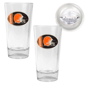 Cleveland Browns 2pc Pint Ale Glass Set with Football Bottom