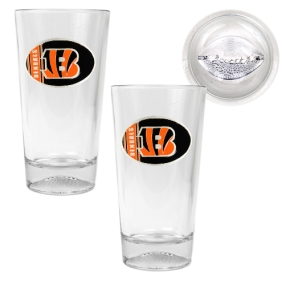 Cincinnati Bengals 2pc Pint Ale Glass Set with Football Bottom