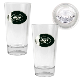 New York Jets 2pc Pint Ale Glass Set with Football Bottom