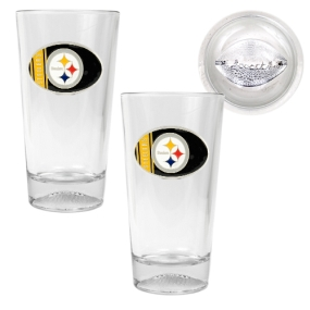 Pittsburgh Steelers 2pc Pint Ale Glass Set with Football Bottom