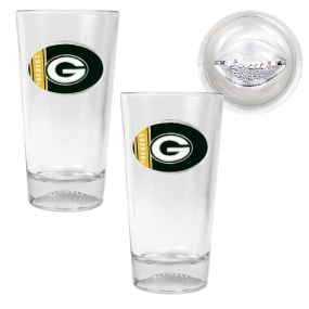 Green Bay Packers 2pc Pint Ale Glass Set with Football Bottom