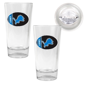 Detroit Lions 2pc Pint Ale Glass Set with Football Bottom