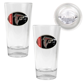Atlanta Falcons 2pc Pint Ale Glass Set with Football Bottom
