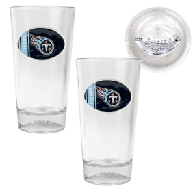 Tennessee Titans 2pc Pint Ale Glass Set with Football Bottom