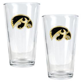 Iowa Hawkeyes 2pc Pint Ale Glass Set