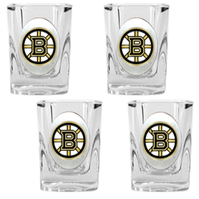 Boston Bruins 4pc Square Shot Glass Set