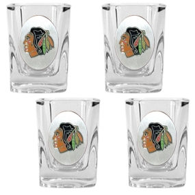 Chicago Blackhawks 4pc Square Shot Glass Set