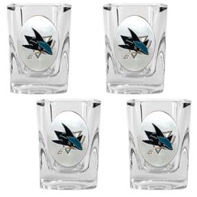 San Jose Sharks 4pc Square Shot Glass Set