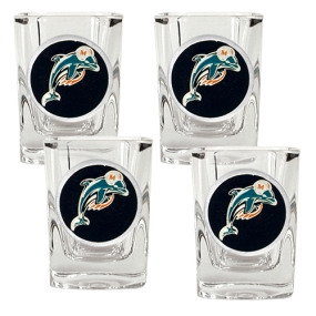 Miami Dolphins 4pc Square Shot Glass Set
