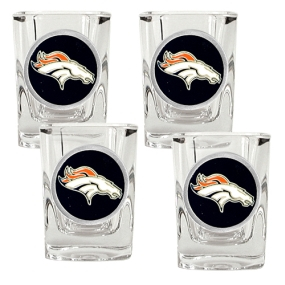 Denver Broncos 4pc Square Shot Glass Set