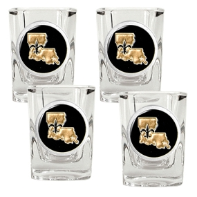 New Orleans Saints 4pc Square Shot Glass Set