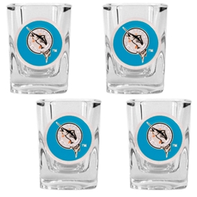 Florida Marlins 4pc Square Shot Glass Set