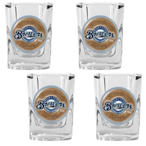 Milwaukee Brewers 4pc Square Shot Glass Set