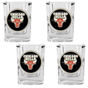 Chicago Bulls 4pc Square Shot Glass Set