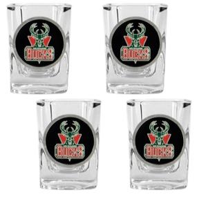 Milwaukee Bucks 4pc Square Shot Glass Set
