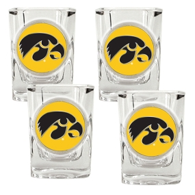 Iowa Hawkeyes 4pc Square Shot Glass Set