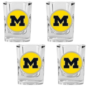 Michigan Wolverines 4pc Square Shot Glass Set