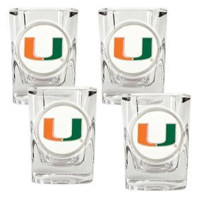 Miami Hurricanes 4pc Square Shot Glass Set