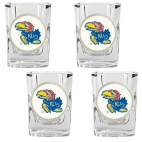 Kansas Jayhawks 4pc Square Shot Glass Set