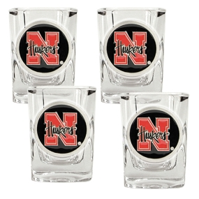 Nebraska Cornhuskers 4pc Square Shot Glass Set