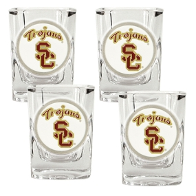 USC Trojans 4pc Square Shot Glass Set