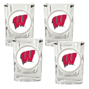 Wisconsin Badgers 4pc Square Shot Glass Set