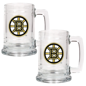 Boston Bruins 2pc 15oz Glass Tankard Set- Primary Logo