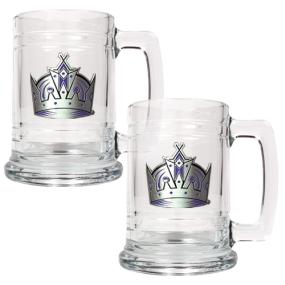 Los Angeles Kings 2pc 15oz Glass Tankard Set- Primary Logo