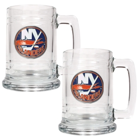 New York Islanders 2pc 15oz Glass Tankard Set- Primary Logo