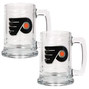 Philadelphia Flyers 2pc 15oz Glass Tankard Set- Primary Logo