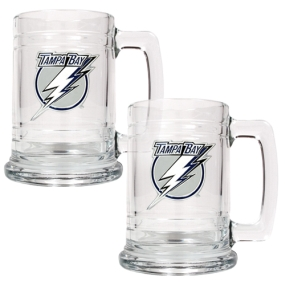 Tampa Bay Lightning 2pc 15oz Glass Tankard Set- Primary Logo