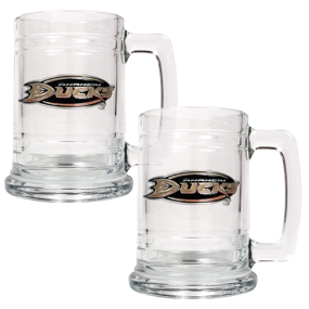 Anaheim Ducks 2pc 15oz Glass Tankard Set- Primary Logo