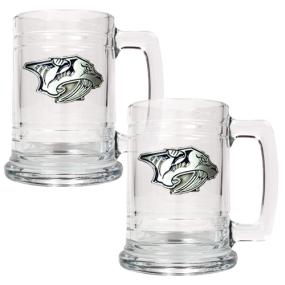 Nashville Predators 2pc 15oz Glass Tankard Set- Primary Logo