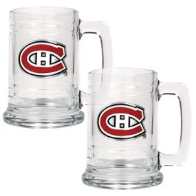 Montreal Canadiens 2pc 15oz Glass Tankard Set- Primary Logo