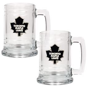 Toronto Maple Leafs 2pc 15oz Glass Tankard Set- Primary Logo