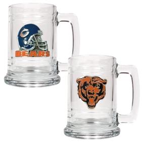 Chicago Bears 2pc 15oz Glass Tankard Set