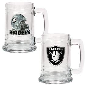 Oakland Raiders 2pc 15oz Glass Tankard Set