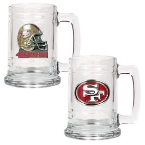 San Francisco 49ers 2pc 15oz Glass Tankard Set