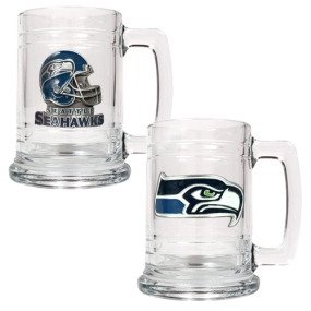 Seattle Seahawks 2pc 15oz Glass Tankard Set